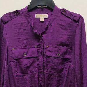 Michael Kors deep purple sateen tunic L